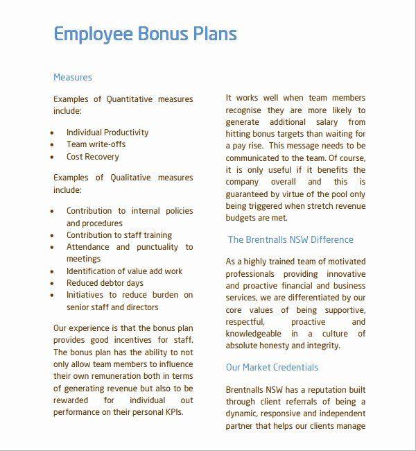 Bonus Plan Template Performance Incentive Plan Template Awesome Sample Bonus