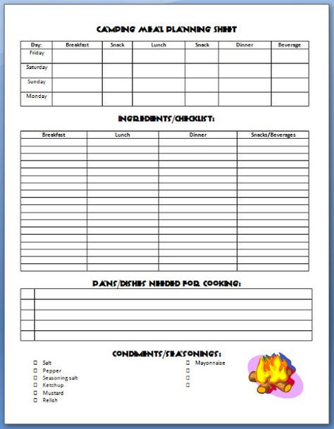 Boy Scout Meal Planning Template 30 Boy Scouts Ideas