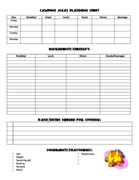 Boy Scout Meal Planning Template Camping Meal Planning Sheet
