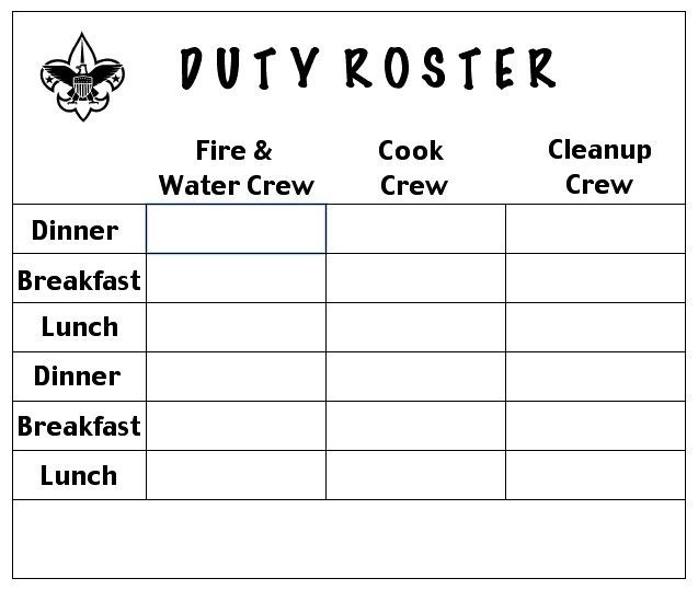 Boy Scout Meal Planning Template Ros·ter ˈrästər Submit Noun 1 A List or Plan Showing Turns