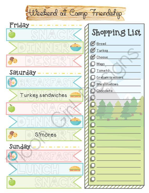 Boy Scout Meal Planning Template Weekend Trip Meal Planner Girl Scouts Family Editable