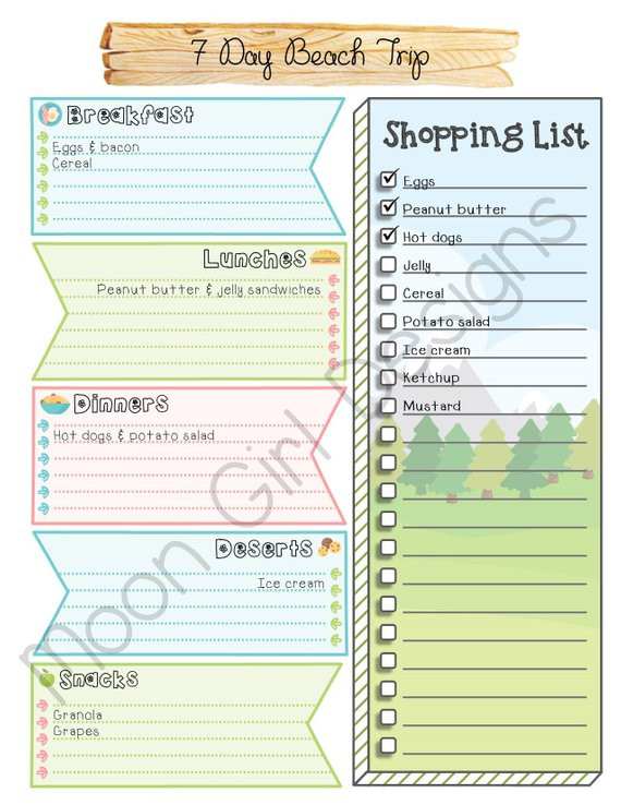 Boy Scout Meal Planning Template Weekly Trip Meal Planner Girl Scouts Family Editable