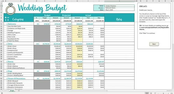 Budget Planner Template Savvy Wedding Bud Excel Template