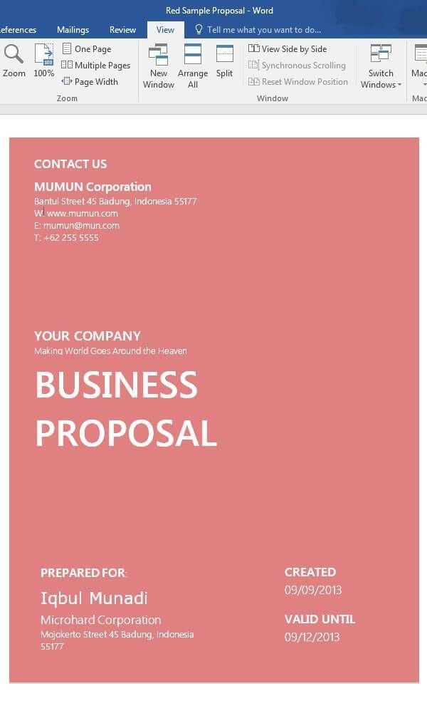 Business Plan Cover Page Template 19 Sample Free Word Proposal Templates formats In Word Excel