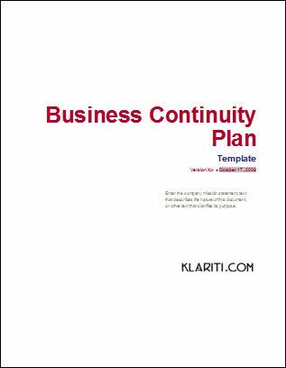 Business Plan Cover Page Template Business Plan Cover Page Template New Business Continuity