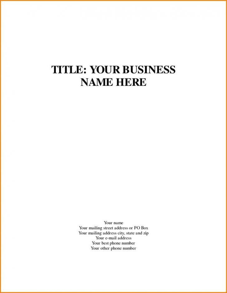 Business Plan Cover Page Template Business Plan Cover Page Template Unique 15 Cover Page A
