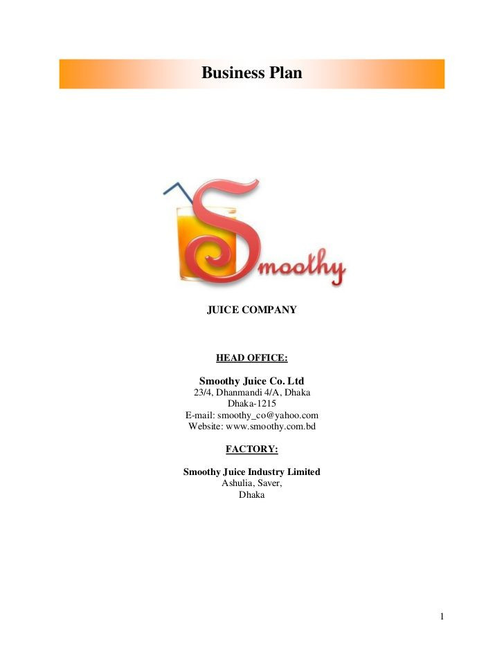 Business Plan Cover Page Template Business Plan Smoothy Juice