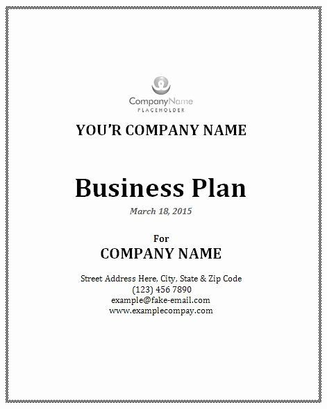Business Plan Cover Page Template Word Business Plan Template Unique 114 Best About