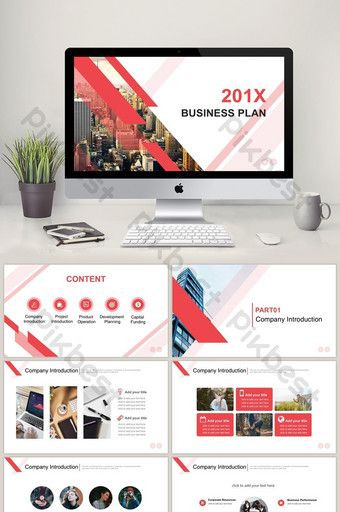 Business Plan Powerpoint Template Free Red Flat Business Project Plan Ppt Template