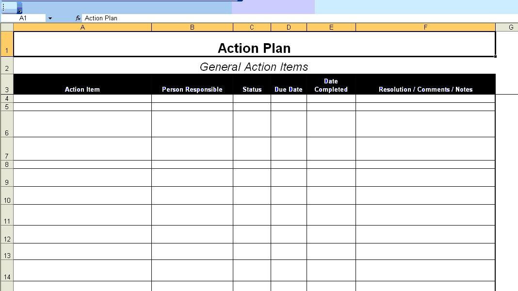 Business Plan Template Excel 20 Action Plan Template Excel In 2020