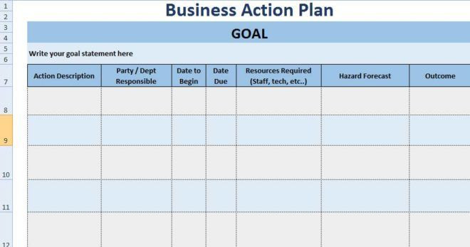 Business Plan Template Excel 3 Free Project Action Plan Template Xls Free Excel