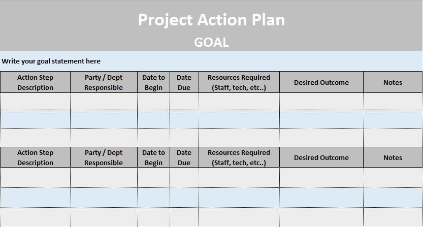 Business Plan Template Excel Project Action Plan Template Excel and Word