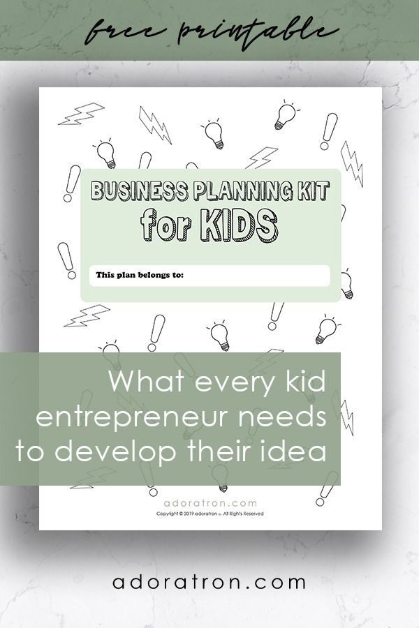Business Plan Template for Kids Business Planning Kit for Kids