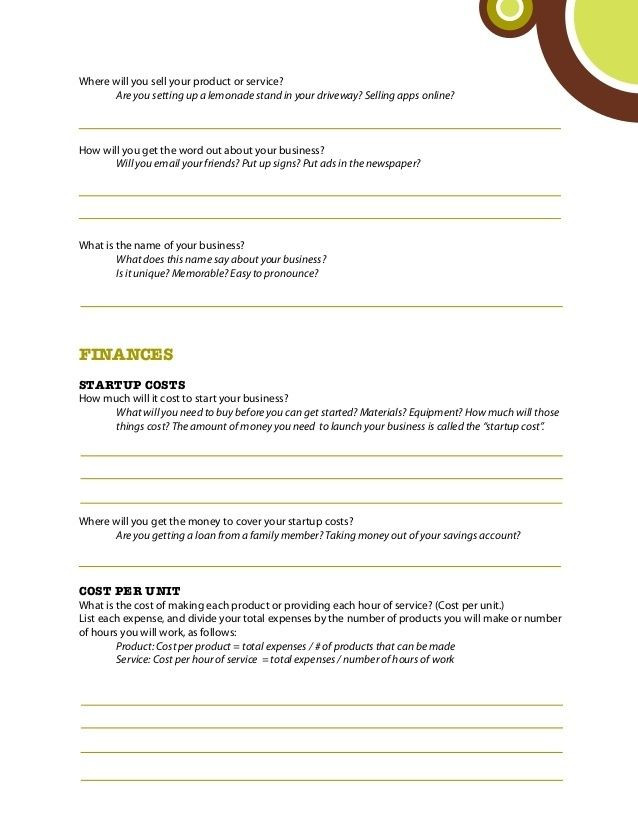 Business Plan Template for Kids Business Plans for Kids