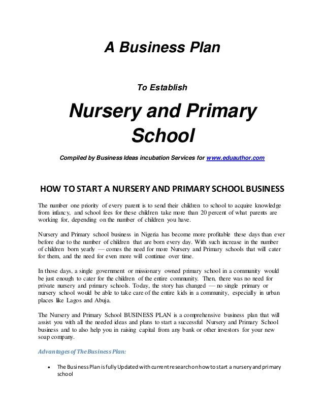 Business Plan Template for Kids Slide Intro Nursery and Primary School Business Plan