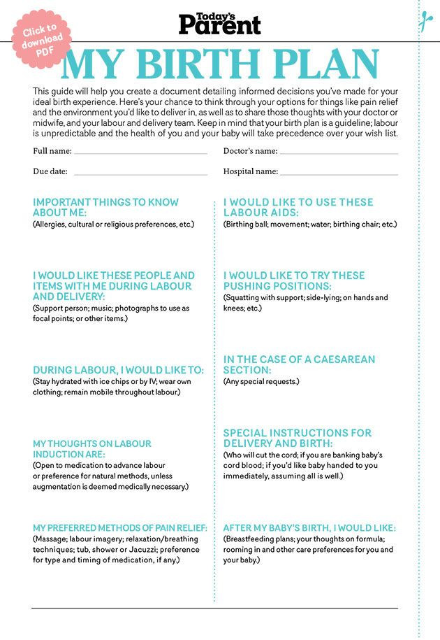 C Section Birth Plan Template Birth Plan Checklist today S Parent