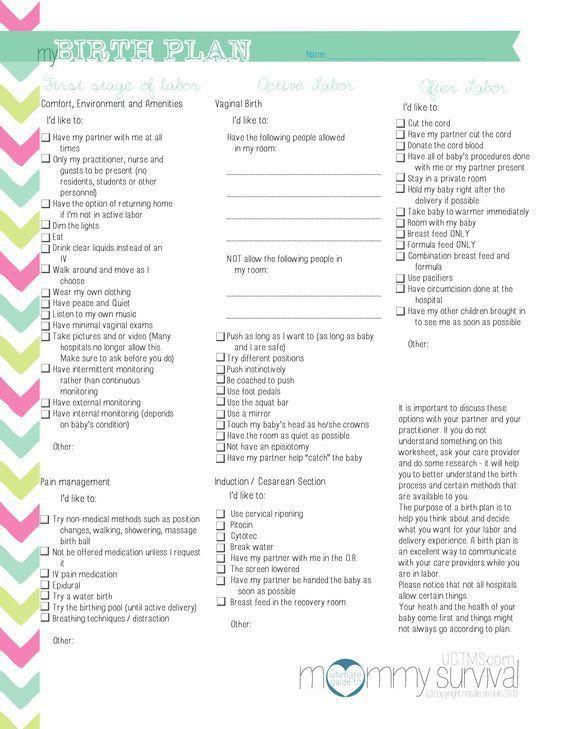C Section Birth Plan Template Cesarean Birth Plan Template Beautiful Free Birth Plan