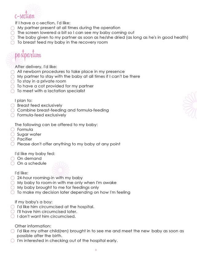 C Section Birth Plan Template What Mommy Brain 10 Printable Checklists that Will organize
