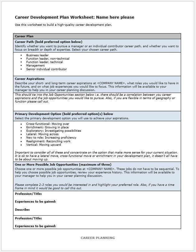 Career Plan Template Career Plan Template New 10 Career Development Plan Examples