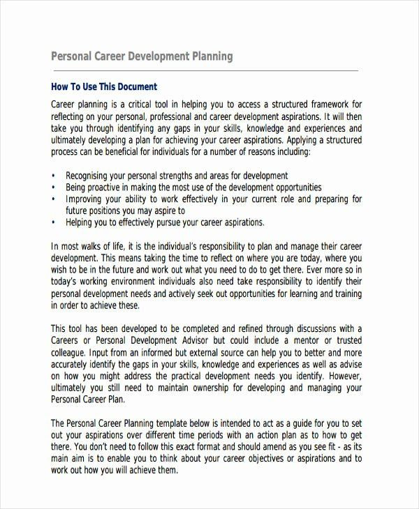 Career Plan Template Future Career Plan Example Awesome the Impact A Career
