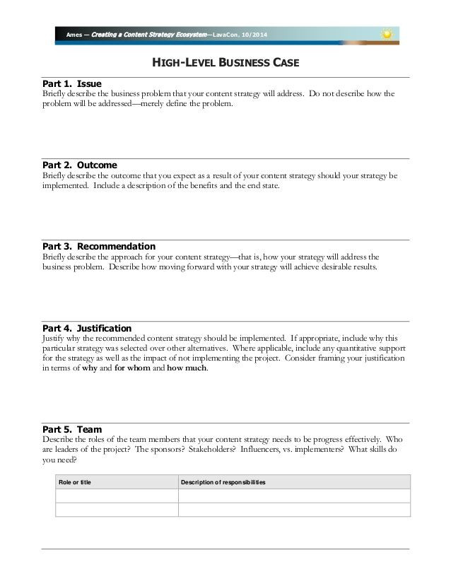 """Case Management Service Plan Template Business Case Template for Lavacon """"creating A Content"""