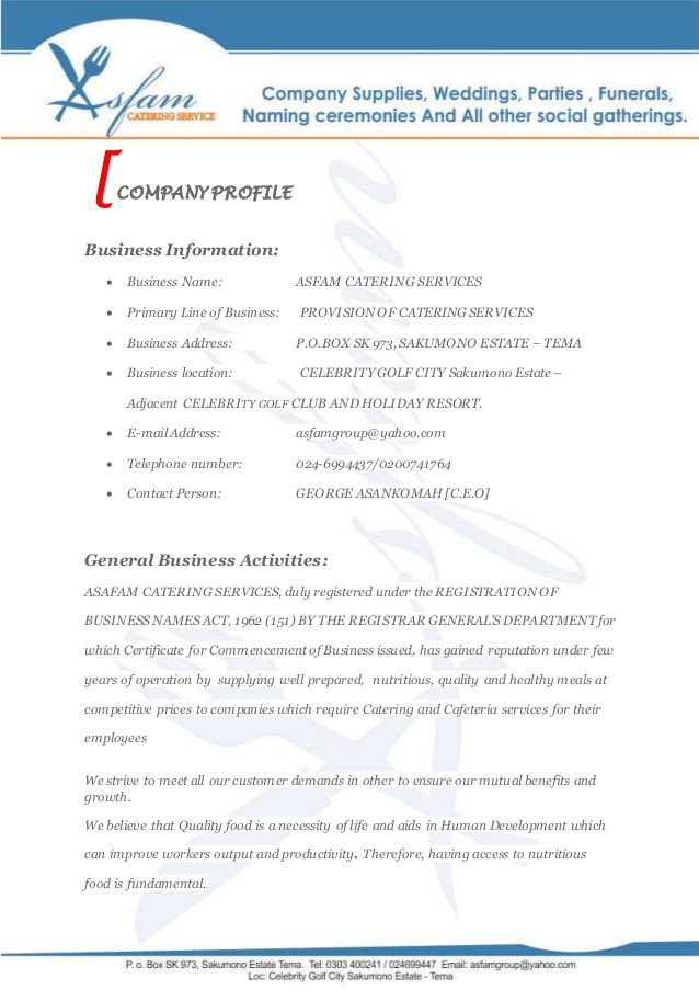 Catering Business Plan Template asfam Catering Services Business Proposal