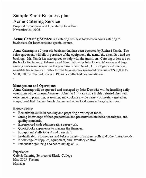 Catering Business Plan Template Catering Business Plan Template Beautiful 22 Business Plan