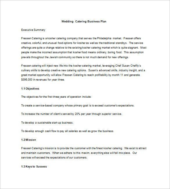 Catering Business Plan Template Catering Business Plan Template Elegant Catering Business