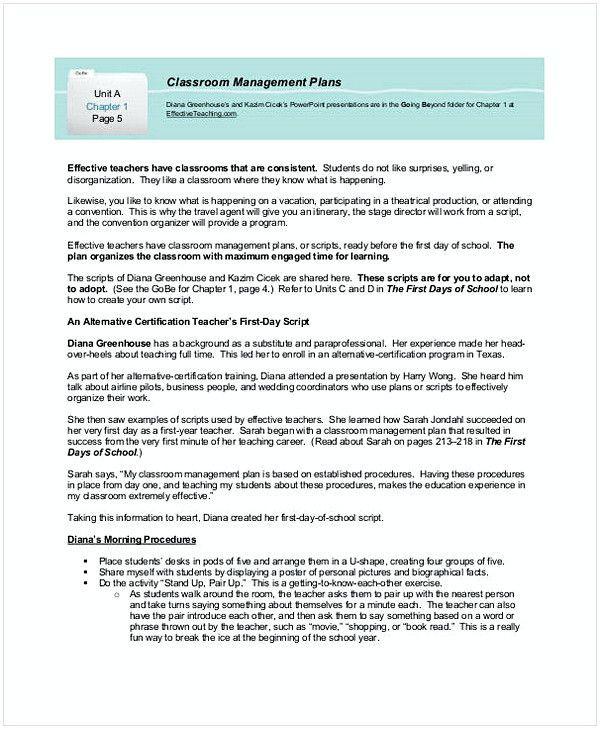 Champs Classroom Management Plan Template Champs Classroom Management Plan Template Unique Sample