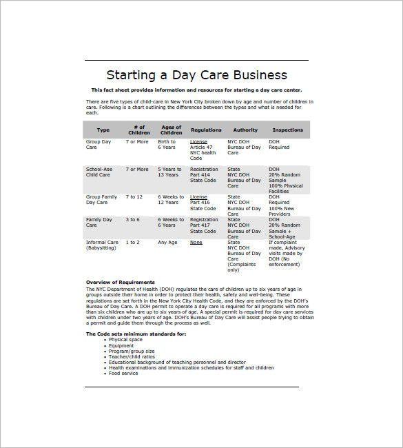 Child Care Business Plan Template Child Care Business Plan Template New Daycare Business Plan