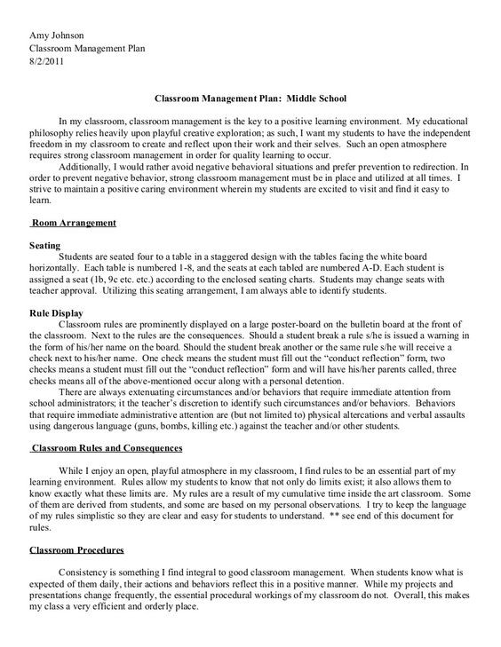 Classroom Management Plan Template 2011 2012 Classroom Management Plan