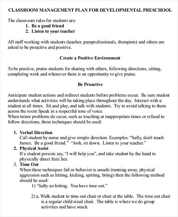 Classroom Management Plan Template 43 Download Free Classroom Management Plan Templates
