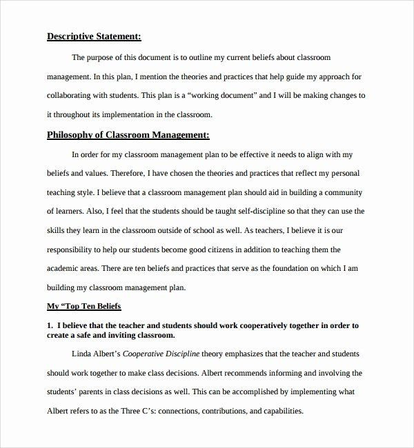 Classroom Management Plan Template Classroom Management Plan Template Inspirational Sample