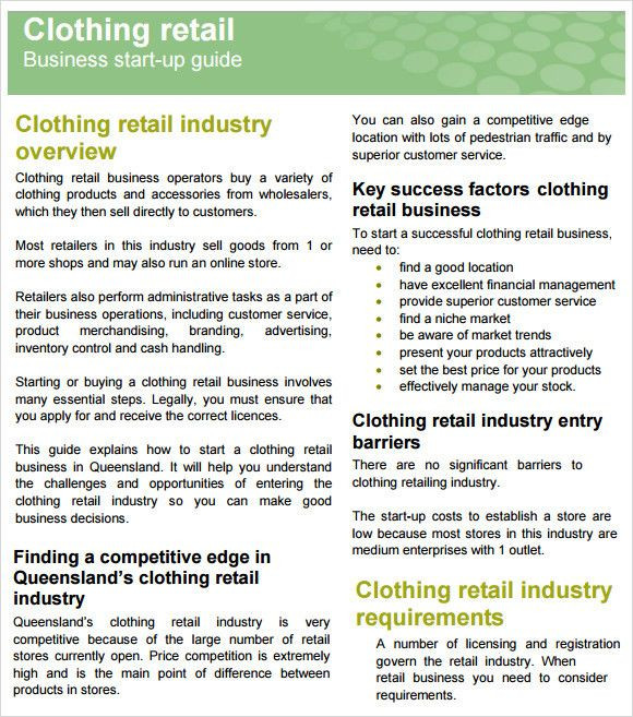Clothing Business Plan Template Clothing Business Plan Template Luxury Sample Retail