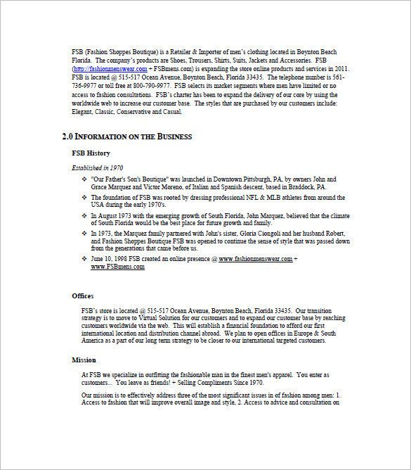 Clothing Business Plan Template Clothing Business Plan Template New Boutique Business Plan
