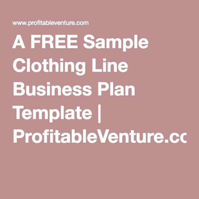 Clothing Line Business Plan Template A Free Sample Clothing Line Business Plan Template