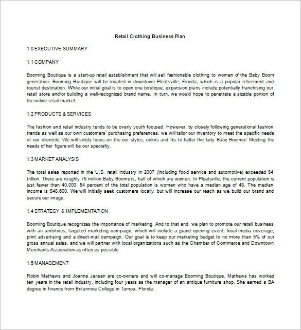 Clothing Line Business Plan Template Retail Business Plan In 2020