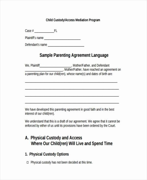 Co Parenting Plan Template Child Visitation Agreement Template Elegant 8 Custody