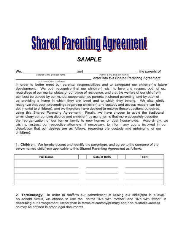 Co Parenting Plan Template Sample Custody Agreement