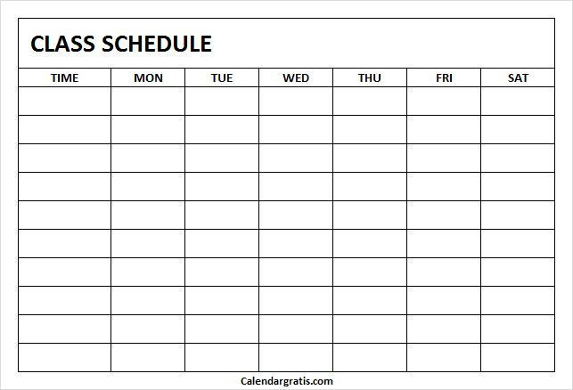 College Course Planning Template Printable Class Schedule Template for School & College