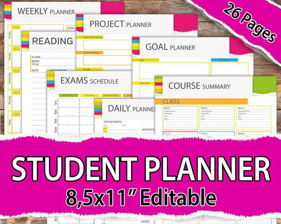 College Student Planner Template College Student Planner 2020 Student Planner 2020 Student