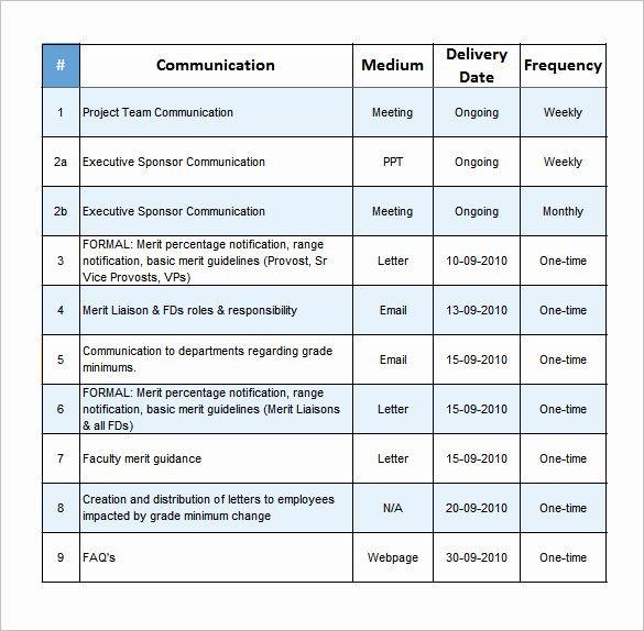 Communication Plan Template Excel Munication Plan Template Excel Elegant 9 Project