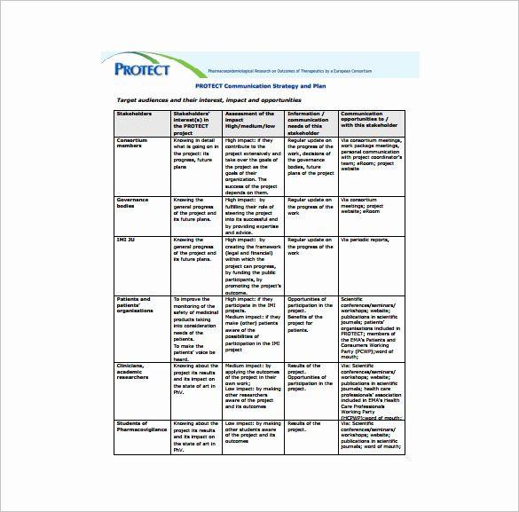 Communication Plan Template Excel Munication Plan Template Excel New Project Munication