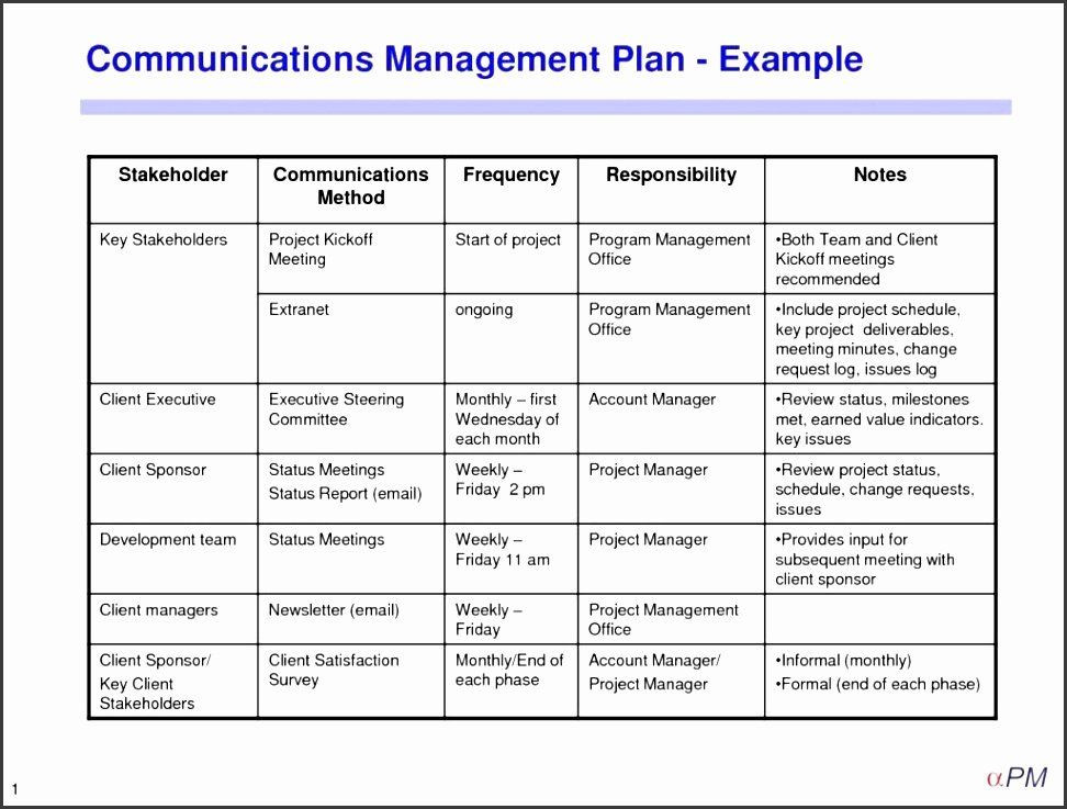 Communication Plan Template Excel Project Management Munication Plan Template Inspirational