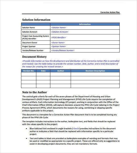 Corrective Action Plan Template Excel Corrective Action Plan Template Word Sample Corrective