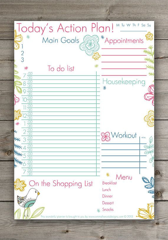 Cute Daily Planner Template Cute Daily Planner Cute Hand Drawn Floral Planner Pdf