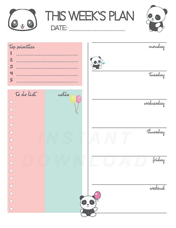 Cute Daily Planner Template Panda Weekly Planner Printable Weekly Planner Cute Weekly