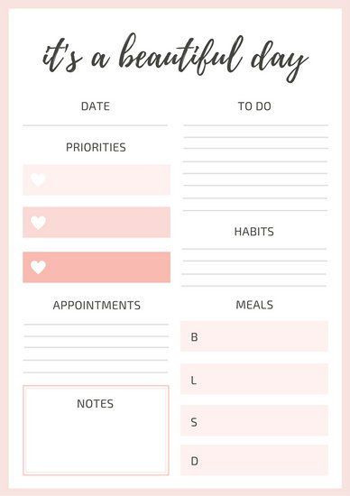 Cute Daily Planner Template Pin Di Planners Printables & Bullet Journaling