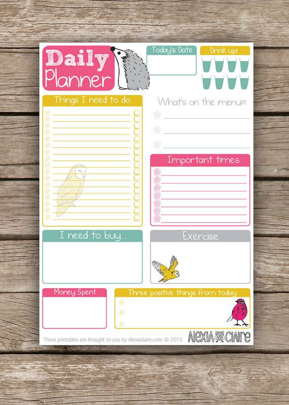 Cute Daily Planner Template Planner