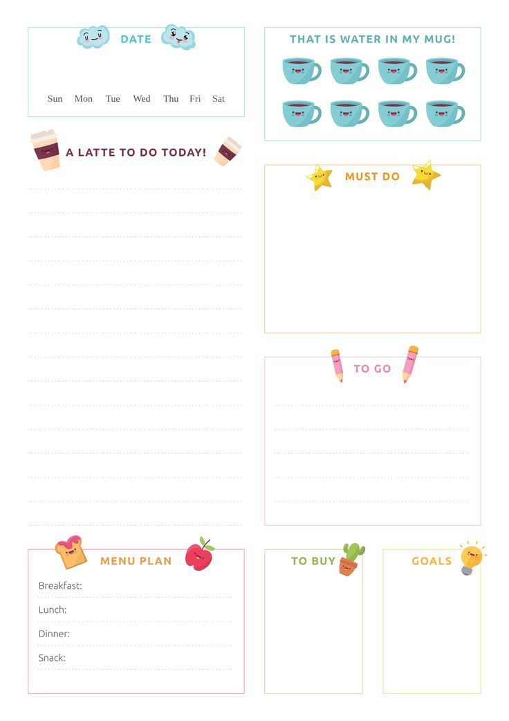 Cute Daily Planner Template This Happy Cute Daily Planner Template with Pictures Of